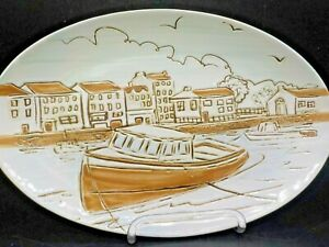 Spectrum Designz Wood Boat City Pier Ceramic Serving Platter Oval Plate #1