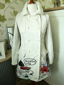 Mantel Damen Desigual Gr. M 38 Sommermantel Trenchcoat weiß