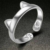Silver Plated Cat Ear Ring Design Cute Fashion Jewelry Cat Ring For Women OHKSYJ