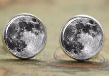 925 Silver Plated Full Moon Cufflinks Space Cuff links Tie clip UK SELLER CFLNK
