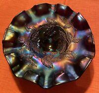 "Dugan~Amethyst~Cherries~Bowl~ Three Footed~Carnival Glass~8 1/4"" Diameter"