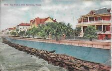 The Sea Wall in 1910 Galveston TX vintage postcard postally used in 1909