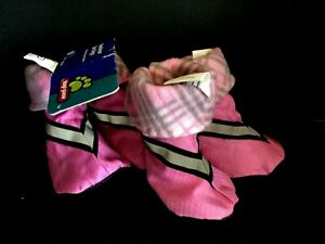 Top Paw Boots Dog Large - PINK + Plaid Lining/ Reflective Straps 4 Pieces 1 Set