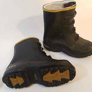 La Crosse Boots Mens Size 10 Traction Black Buckle Carbide Studs Waterproof