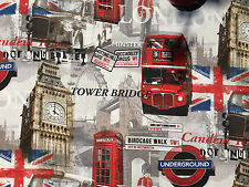 Red London Bus Underground curtains upholstery furnishing fabrics per Metre