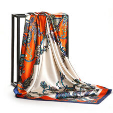 "Women's Orange Paisley Fashion Printed Silk-Satin Square Scarf Head Shawl35""*35"""