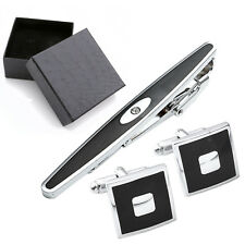3x Mens Black Square Cufflink + Necktie Tie Clip Bar Wedding Gift Shirt Suit Set