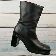 Tommy Hilfiger Womens Black Leather W32163 Red Lining Square Toe Boots Size 10 M