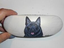 Schipperke dog Hand Painted Hard Eyeglass Glasses Case