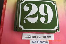 Hausnummer Nr.29 weiße Zahl auf gras grünem Hintergrund 12 cm x 10 cm Emaille