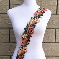 1 Yard Embroidered Rose Flower Lace Trim Embellish Sew On Wedding Dress Costume