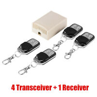 DC 12V 4CH Channels Wireless Remote Control Relay Switch 4 Transmitters+Receiver