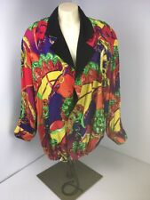 Vtg 80s Cassie Swinger NEOn Bright Reversible BOMBER JACKET Large CC Chains RARE