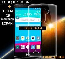 Funda con tapa flexible transparente gel silicona para LG G4 + 1 Lámina