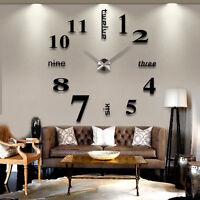 DIY Analog 3D Mirror Surface Large Number Wall Clock Sticker Modern Home-kor