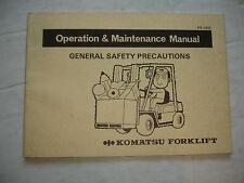 Komatsu Forklift OPERATION & MAINTENANCE MANUAL Service Shop Safety Precautions