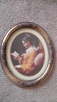 "Vintage 1976 Framed ""Young Girl Reading"" 14"" x 12"" USA"