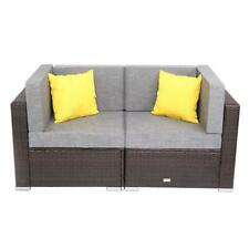 2PC Patio Rattan Wicker Sofa Cushined Loveseat Couch Furniture Outdoor Garden