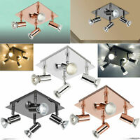 Square 4 Way Adjustable LED Ceiling Lights Spotlight Fittings Kitchen GU10 Bulbs