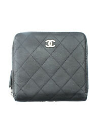 Chanel Black Quilted Leather Zippered Wallet