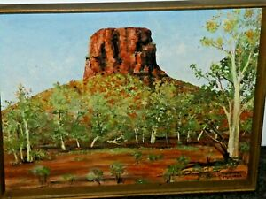 Pannawonica Hill 1987 West Australia Unsigned Original Framed Painting Red Count