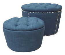 Ave Six Lacey Indigo Blue Fabric Tufted Top Round Storage Ottoman Cube Set