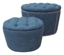 Ave Six Lacey Indigo Blue Fabric Tufted Top Round Storage Ottoman Cube Set