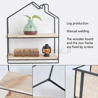 Double Layer  Metal Wooden Wall Rack Hanging Storage Shelf Wire Floating Shelves