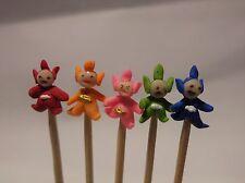 1:12 Hand Made Polymer Teletubbies (5) On A Stick Dolls House Miniature Nursery