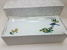 Set of 4 Sushi Dishes Ceramic White Blue Bird Flowers 11 x 4 1/4 New in Box Gift