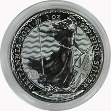 2021 Great Britain United Kingdom 1 oz 999 Silver Britannia in Air-Tite Capsule