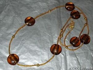 """STRIKING AMBER BROWN GLASS ACRYLIC BEADED NECKLACE 35"""""""