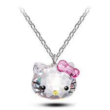 2017 Crystal Chain Pendant Cute Hello Kitty Jewelry Cat Necklace Women Girl Gift