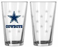 Set of 2 Dallas Cowboys Satin Etch Pint Glass [NEW] NFL Drink Bar Cup Mug 16oz