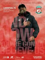 Liverpool v Aston Villa 5th July 2020 Premier League Official Matchday Programme