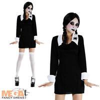Creepy School Girl Ladies Wednesday Addams Fancy Dress Halloween Costume 10-14