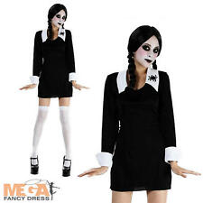 Creepy School Girl Ladies Wednesday Addams Fancy Dress Halloween Costume 10-14