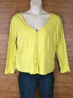 Eileen Fisher Yellow Button Down Organic Cotton Blouse Womens Size XL EUC
