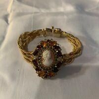 Beautiful vintage Hobe Rhinestone & cameo bracelet