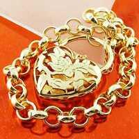 BRACELET BANGLE GENUINE 18K YELLOW G/F GOLD SOLID BELCHER PADLOCK HEART DESIGN