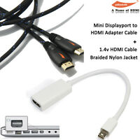 2 in 1 Mini DisplayPort to HDMI Adapter Cable+Braided 15FT V1.4 HDMI Cable 1080P