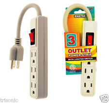 3 Outlet Grounded Mini Power Strip Lighted Switch 5 Inch Cord UL Listed AC-585