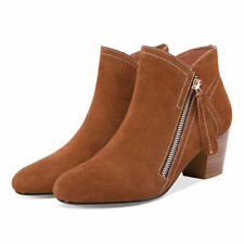New Ankle Shoes Womens Boots Pointed Toe Ladys British Style Booties Block Heels