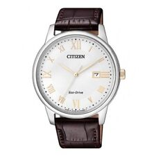 Citizen Eco-Drive BM6974-19A Analog Men's White Dial Brown Leather Date Watch