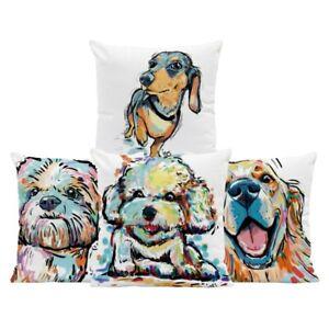 Dachshund Dog Schnauzer Animal Cushion Golden Retriever Pillow Case Vintage Gift