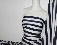 Navy/White Stripes Lycra/Spandex 4 way stretch Matt Finish Fabric