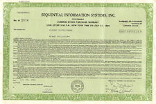 Sequential Information Systems > 1981 New York early robotics stock certificate