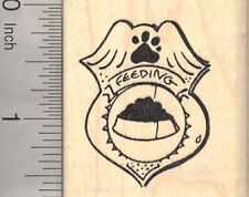 Dog Feeding Badge Rubber Stamp for Pet Care Motivational Projects E21505 WM