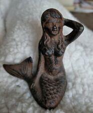 Vintage Iron Cast Brass Nude Mermaid Figure, Art Deco