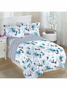 Abigail Duvet Cover Set, reversible floral flowers duck egg blue Double Size